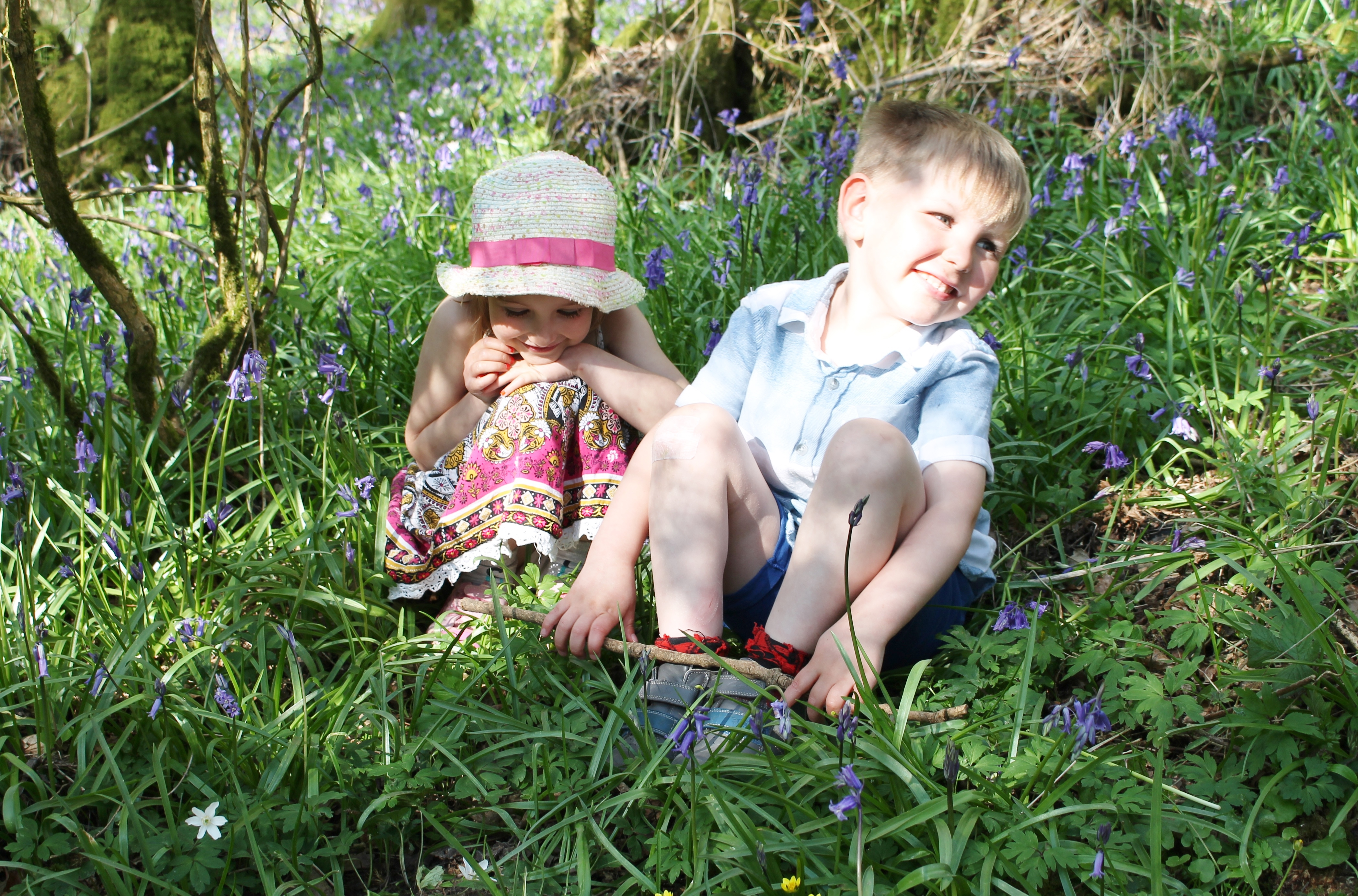 Girl and boy bluebells Plantlife/Kim Newman (2)