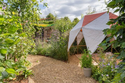 Year of Green Action Garden. Designed by Helen J Rosevear and Jane Stoneham. Sponsored by Defra and Sensory Trust. RHS Hampton Court Palace Garden Festival 2019. Stand no. 329